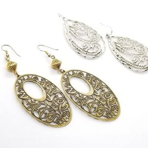 Earrings Bundle Brass, Silver Filigree Never Worn.